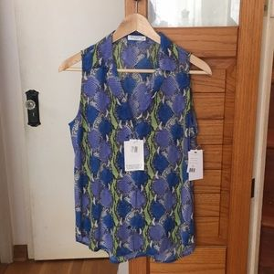 Equipment snakeskin sleeveless blouse